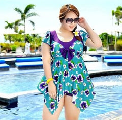 2016 new summer swimwear plus size print women's swearwear suits large size swim wear maternity swimwear pregnagnt swim dress - terryjerrynguys