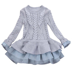 Girls dresses Knitted Sweater Winter Pullovers Crochet Tutu Dress girl Clothes