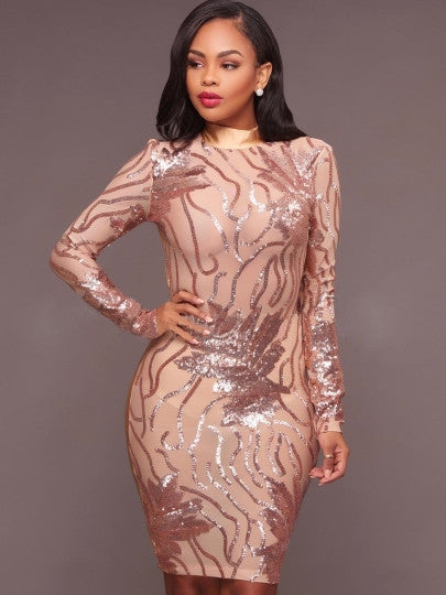 Open Back Sequins See-Through Women's Bodycon Dress - terryjerrynguys