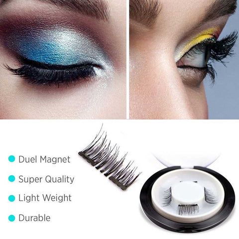 1pair 4pcs Natural Long Thick Eyelashes Extension 3d Magnetic False Eyelashes Maquiagem Kits Double Magnets Extensions