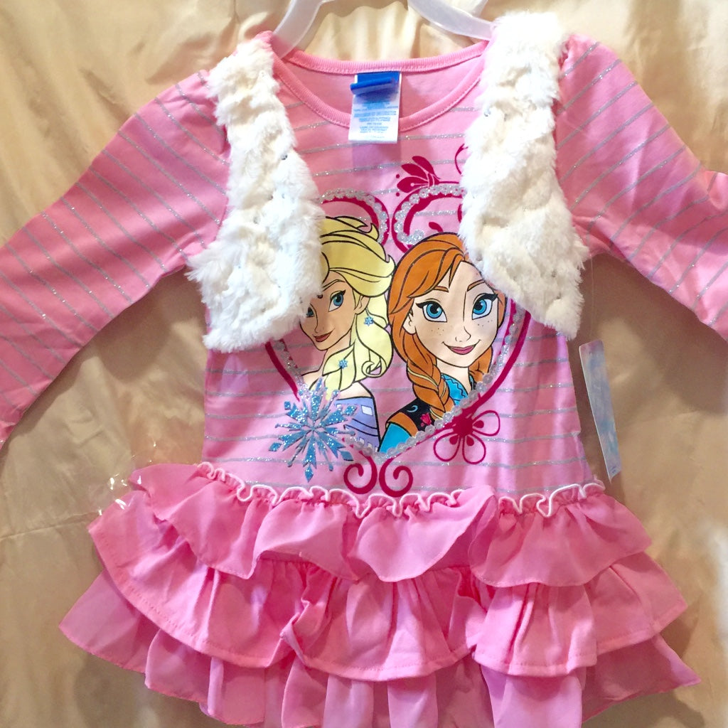 Cute Ana & Elsa Attached Vest with Ruffles