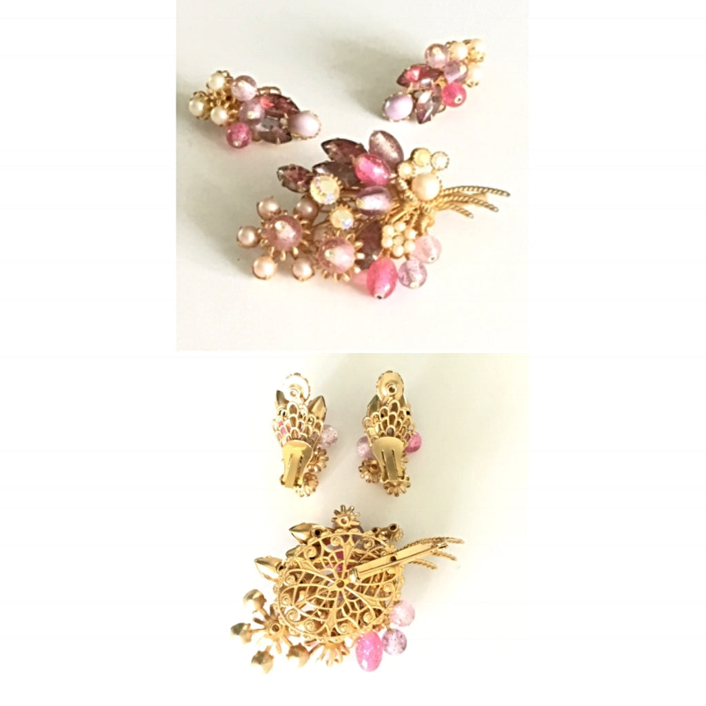 From the Vault Vintage Earrings, Brooch Set