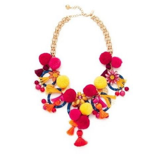 Playful Sophistication Tassels and Pompoms Statement Necklace - Jewelry Bubble alt image main
