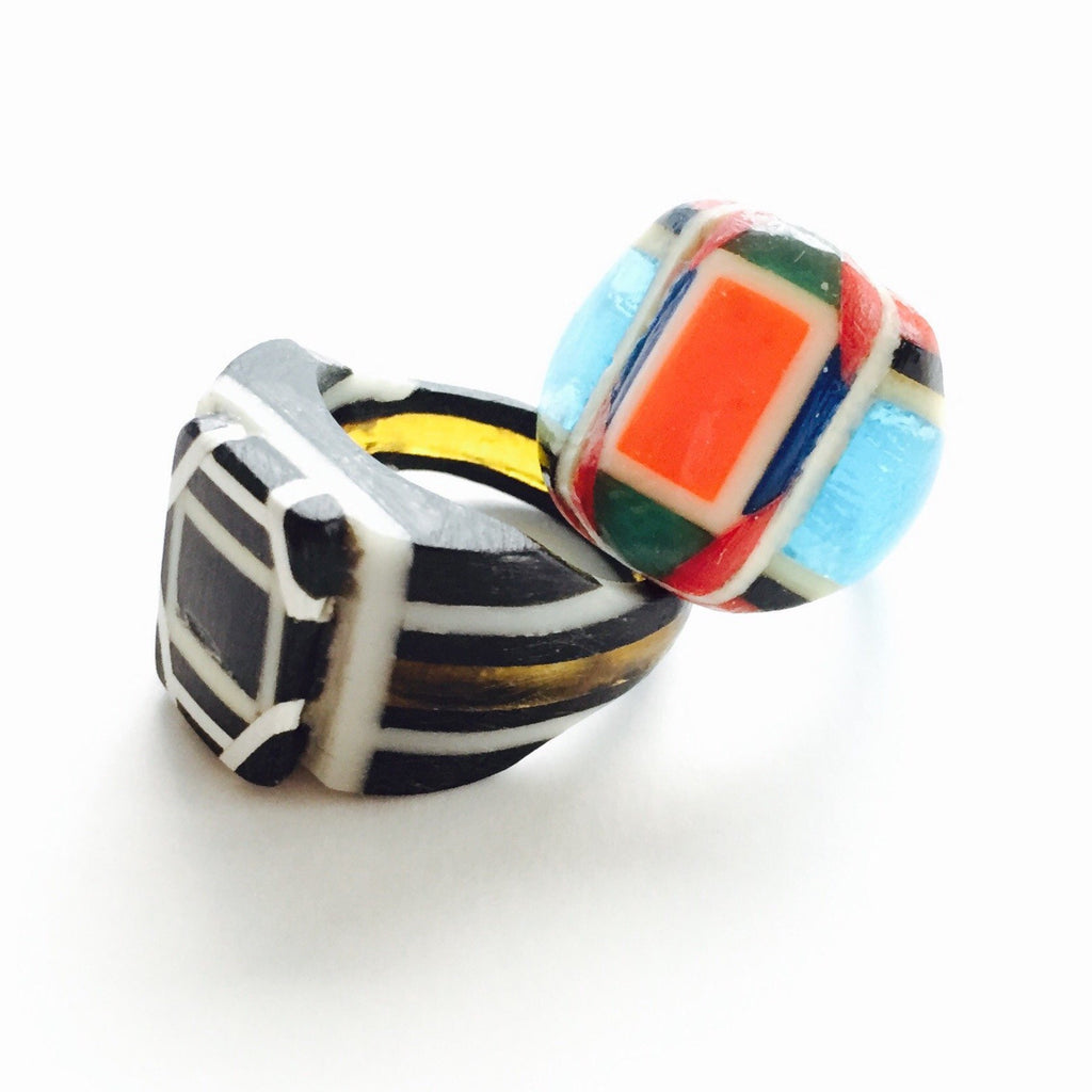 Robert Dodd celluloid plastic rings - Jewelry Bubble