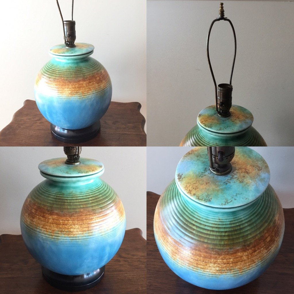 Lighting, Poole Pottery electric vintage lamp - Vogue Finds