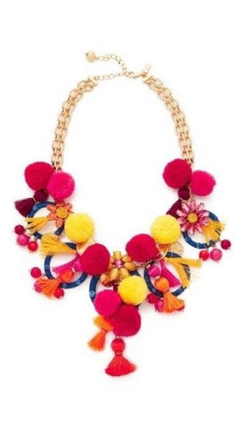 Playful Sophistication Tassels and Pompoms Statement Necklace - Jewelry Bubble alt image 1