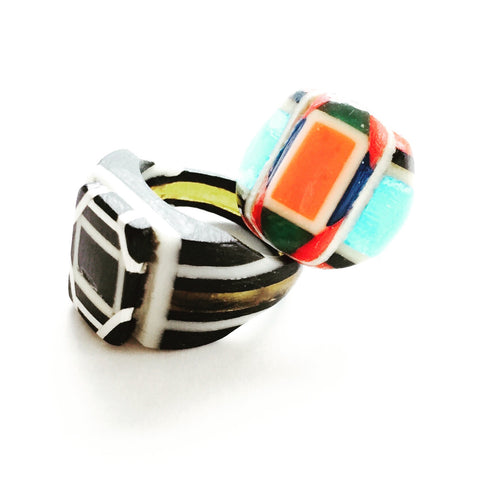 Robert Dodd celluloid plastic rings - Jewelry Bubble blog