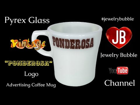 Pyrex Glass Advertising Coffee Mug Ponderosa Logo - jewelrybubble YouTube video