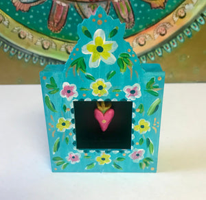 Turquoise Floral Nicho with Radiant Heart