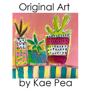 """succulent life"" original mixed media painting by kae pea"