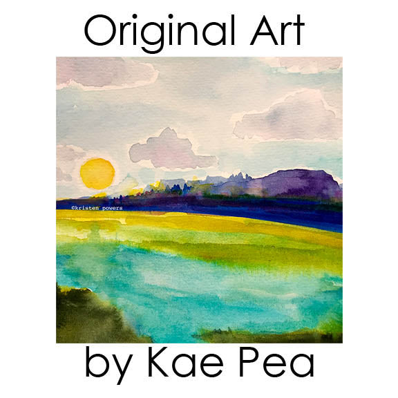 """sun down over clear lake"" original watercolor by kae pea"