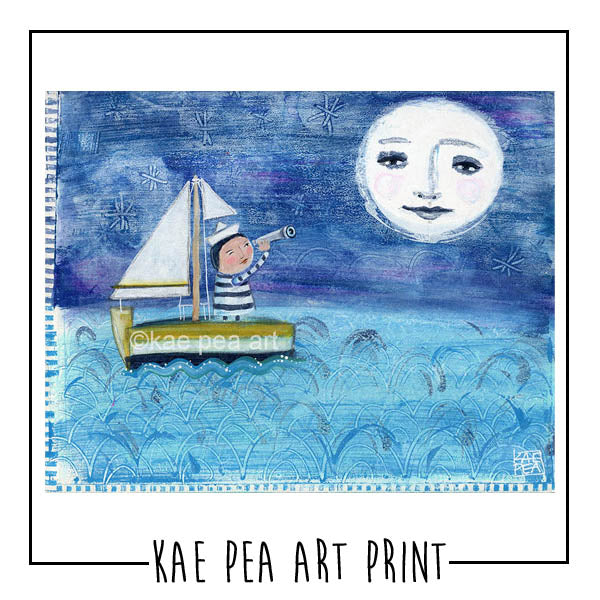 The Moon, Me and The Sea Art Print | Kae Pea