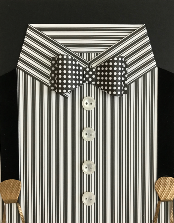 Black Stripe Shirt & Dot Bow Tie