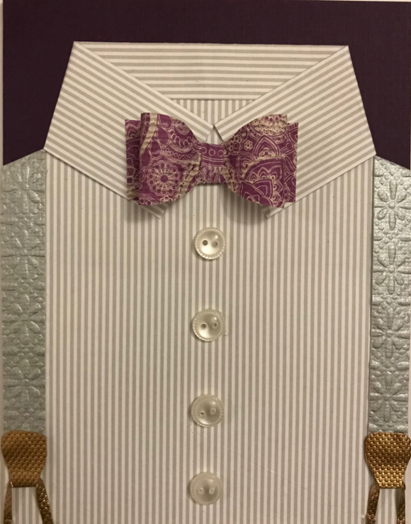 Gray Stripe Shirt & Paisley Bow Tie