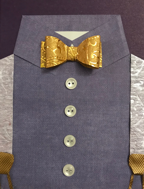 Purple Shirt & Gold Bow Tie
