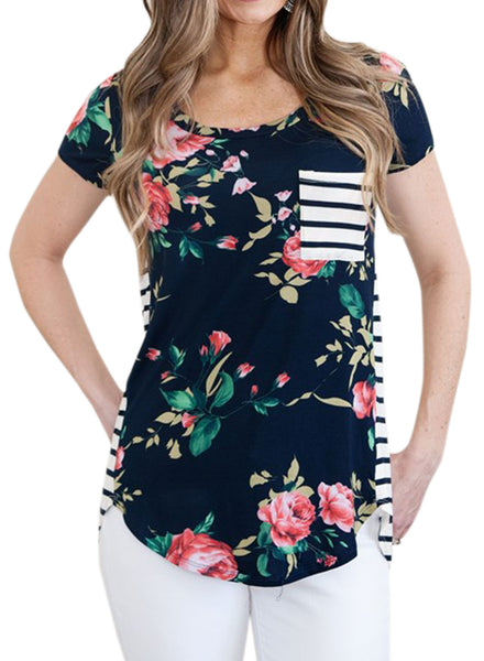 Short Sleeve  Asymmetric Flower Printed Stripe Blouse