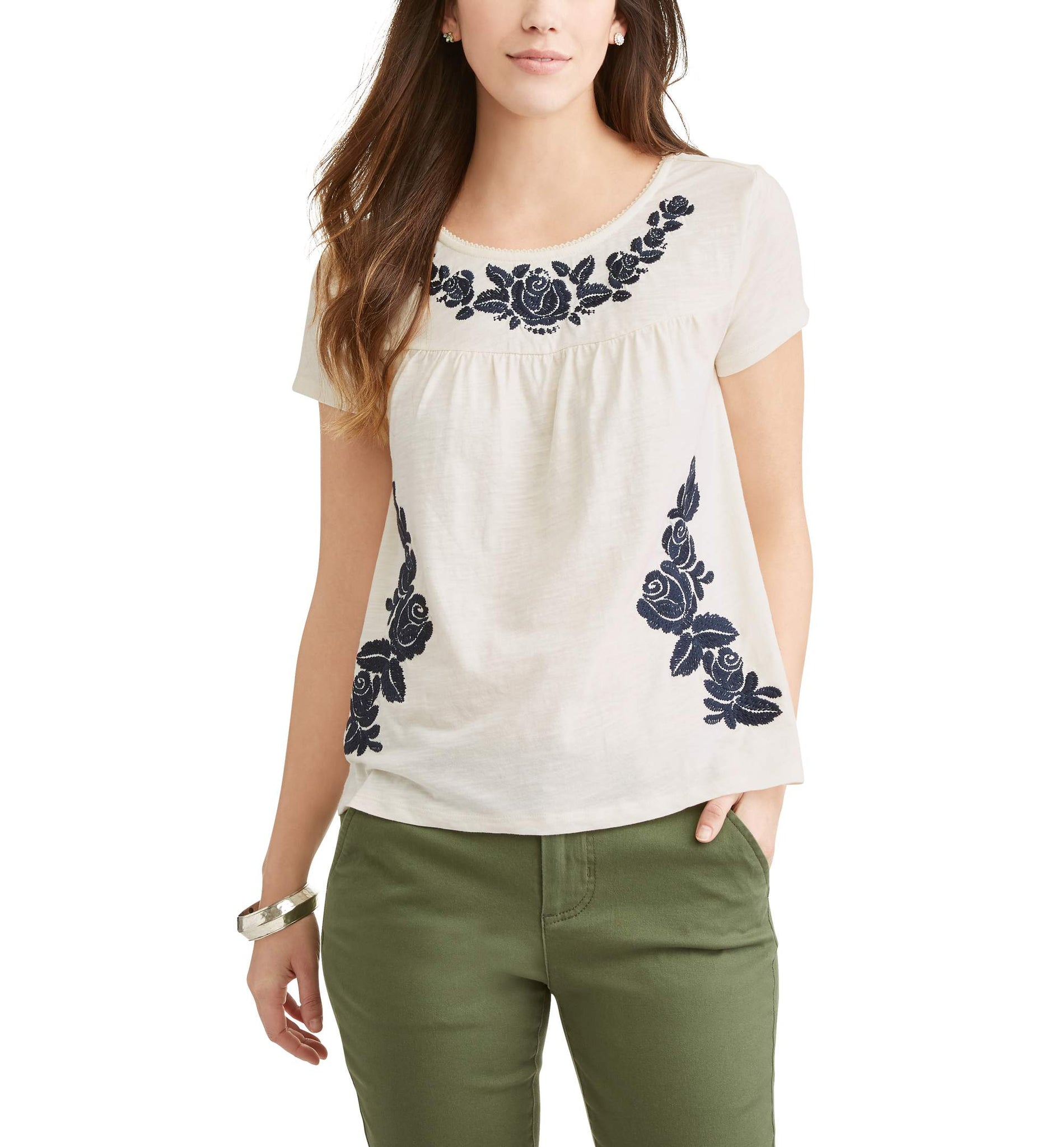 Short Sleeve Embroidered Front Swing Peasant Top