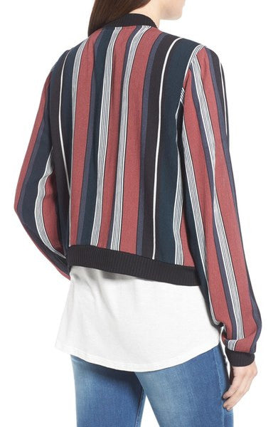 Stripe Colorblock Chiffon Light Bomber