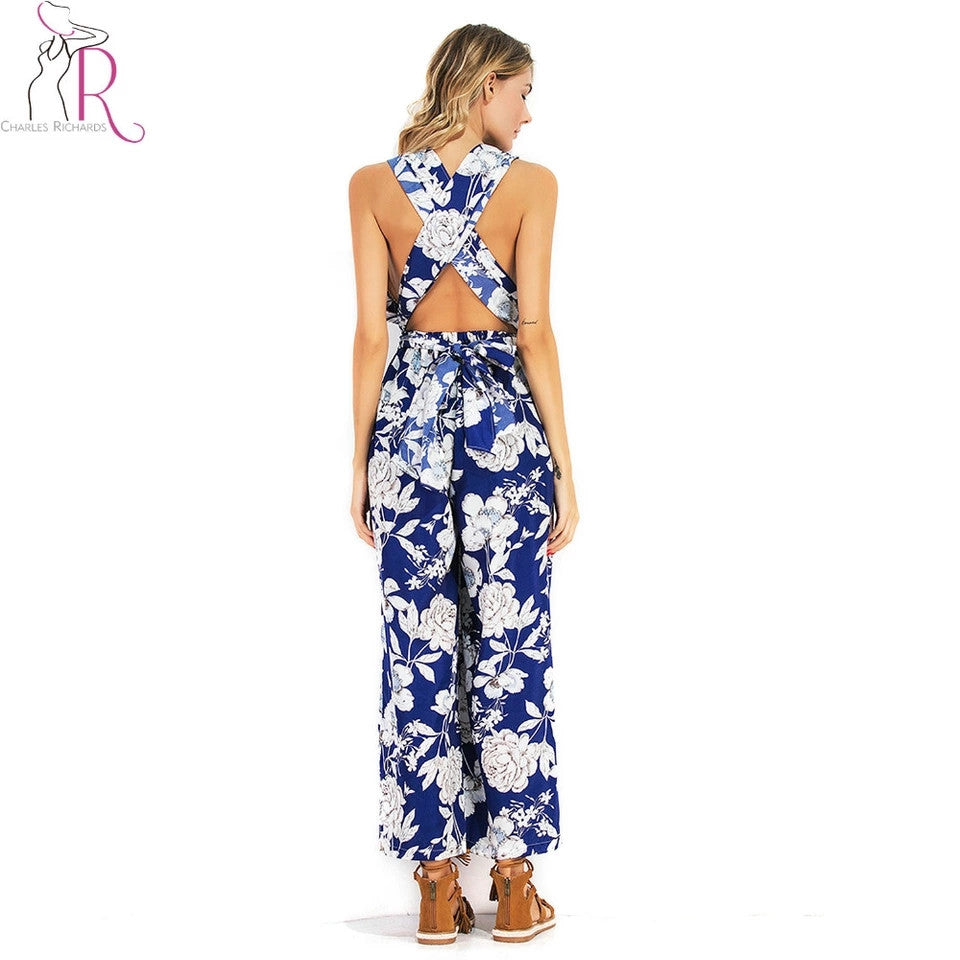 Floral Printed Criss Cross Back Jumpsuit