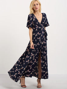Colorful V-cut Birds Print Split long Dress