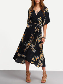 Surplice Front Florals Wrap Dress