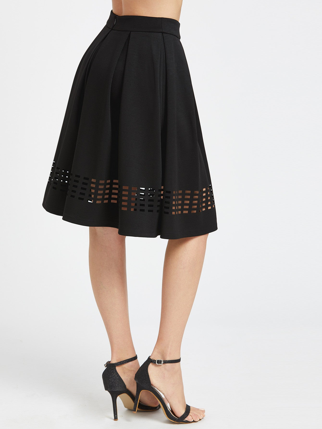 Laser Cutout Hem Box Pleated Skirt
