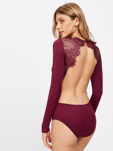 Backless Lace Applique Bodysuit