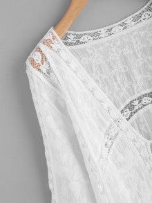 Tie Front Lace Insert Embroidered Kimono