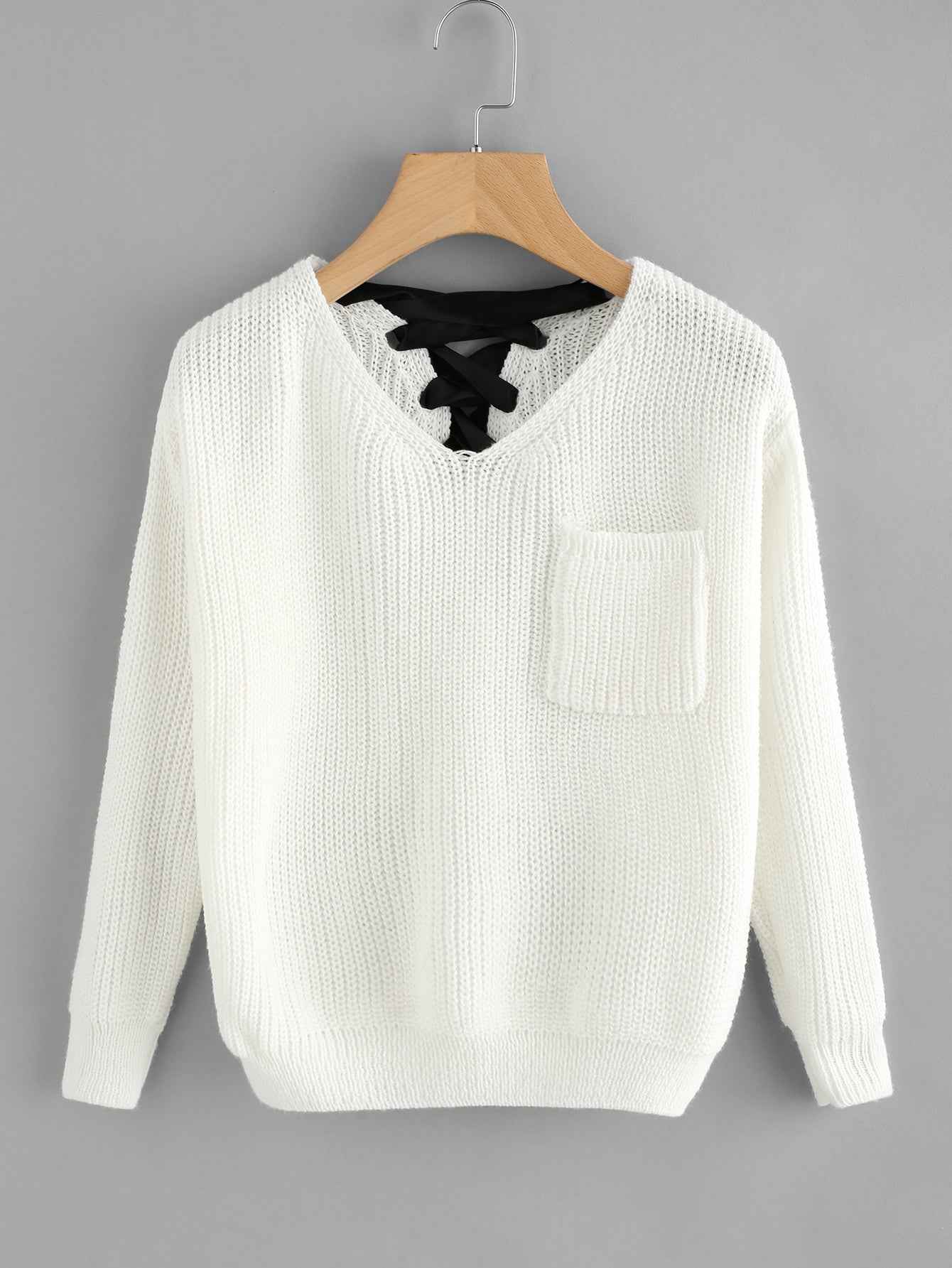 V Neckline Lace Up Back Texture Knit Sweater