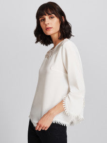Illusion Neck Lace Trim Scallop Top