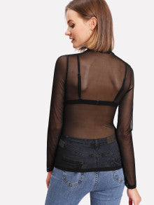 Frilled Neck Transparent Mesh Top