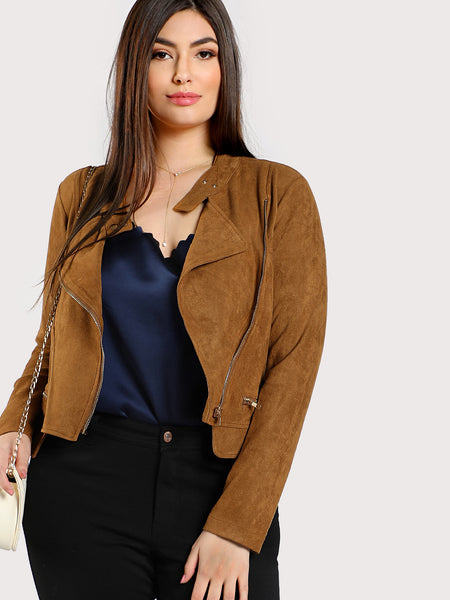 Asymmetric Zip Suede Biker Jacket
