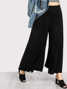 Solid Wide Leg Pants