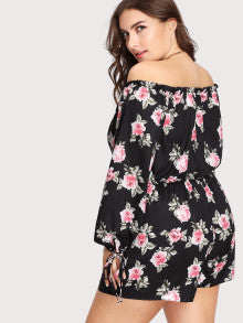 Off Shoulder Floral Print Tie Neck Romper