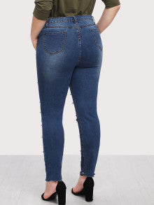 Pearl Beaded Raw Hem Jeans