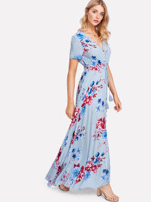 Button Up Front Tassel Tied Floral Dress
