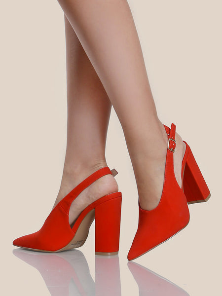 Slingback Block Heel Pumps