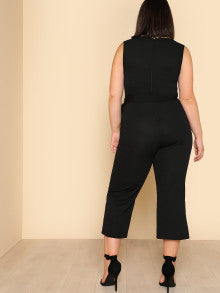 Self Belted Sleeveless Culotte Jumpsuit