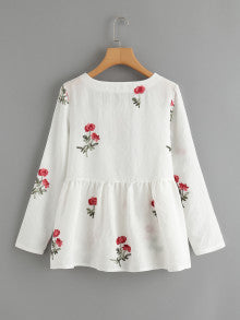 Embroidery Pep Hem Blouse