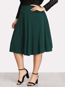 Zip Side Solid Paneled Skirt