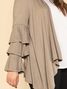 Triple Ruffled long Sleeve Cardigan LIGHT MOCHA