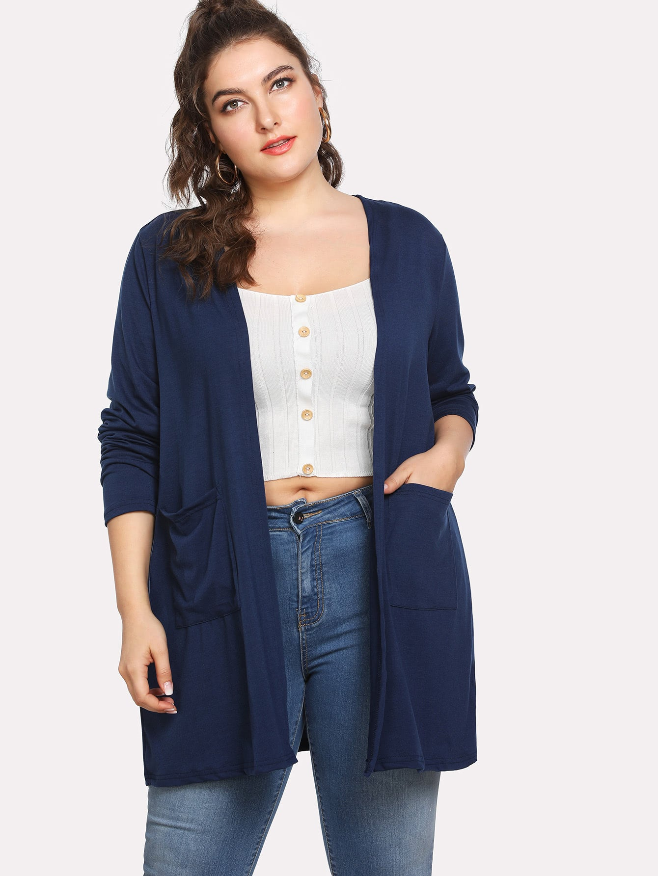 Pocket Front Jersey Knit Cardigan