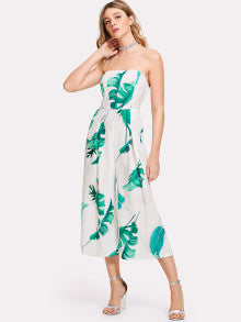 Palm Leaf Print Tube Jumpsuit