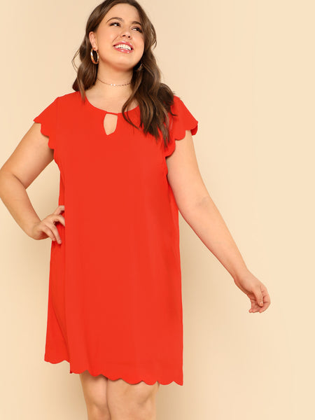 Keyhole Front Solid Scalloped Dress