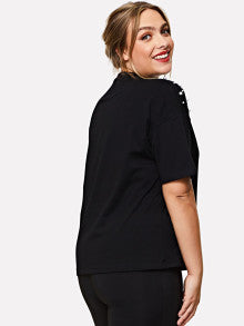 Pearl Beaded Shoulder Cutout Neck Tee