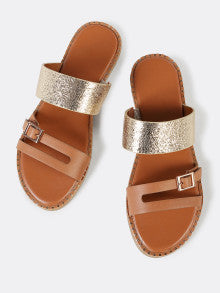 Metallic Band Buckle Strap Slide Sandal with