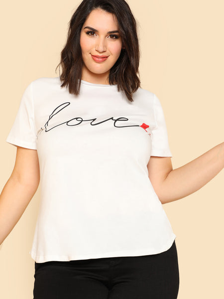 Letter And Heart Print Tee