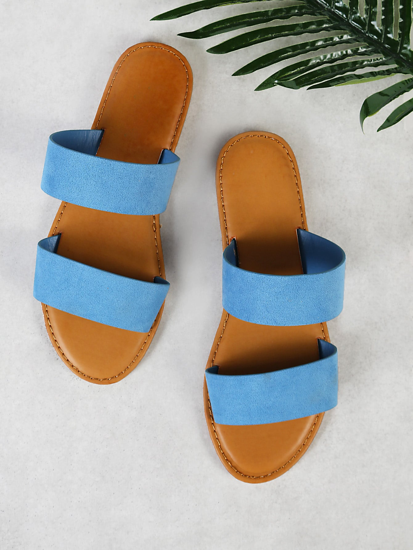 Faux Suede Double Band Slide Sandal