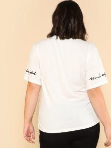 Girl And Letter Print Tee