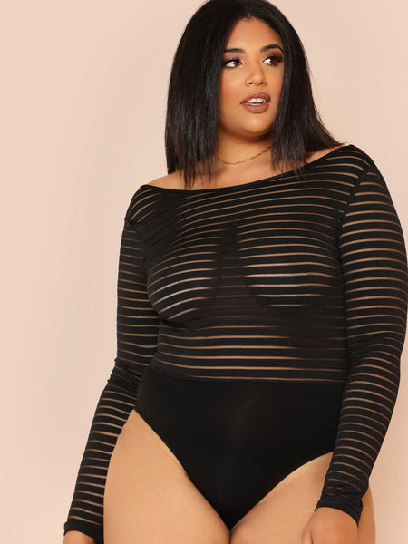 Scoop Back Striped Mesh Bodysuit